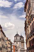 stock photo of patron  - Santa Iglesia Collegiata de San Isidro Church Street Madrid Spain - JPG