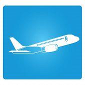 image of aeroplane symbol  - plane symbol in blue square button - JPG