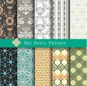 stock photo of tile  - Set Retro Pattern - JPG