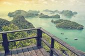 stock photo of thong  - Aerial view of the Mu Ko Ang Thong Islands and National Marine Park with a observation deck - JPG