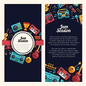 picture of music symbol  - Illustration of vector modern flat design decorative invitation flyer template with musical instruments and music tools - JPG