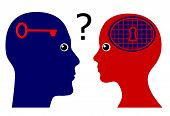 stock photo of psychological  - Concept sign of a man rising psychological questions about the mindset of women - JPG