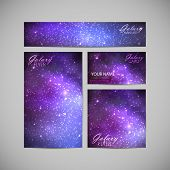 stock photo of stellar  - set of vector visual corporate identity with galaxy Milky Way background - JPG