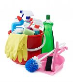 pic of cleaning agents  - variety of cleaning products on white background - JPG