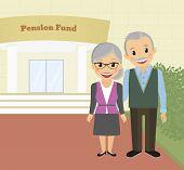 stock photo of economizer  - Happy grandparents standing near pension fund - JPG