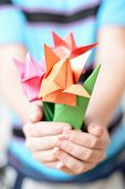 foto of origami  - Bouquet of origami tulips in children