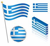 stock photo of flag pole  - Greek flag on a pole badge and isometric designs vector illustration - JPG