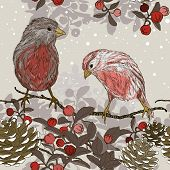 picture of taper  - Vector Christmas seamless pattern with winter birds - JPG