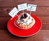 foto of trans  - Delicious cake with calories count labels on color plate on wooden table background - JPG