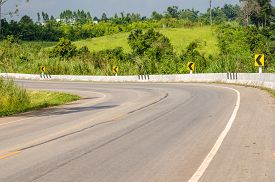 pic of twisty  - Twisty mountain road in nature  - JPG