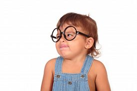 stock photo of grils  - Beautiful litlle gril with glasses on a white background - JPG