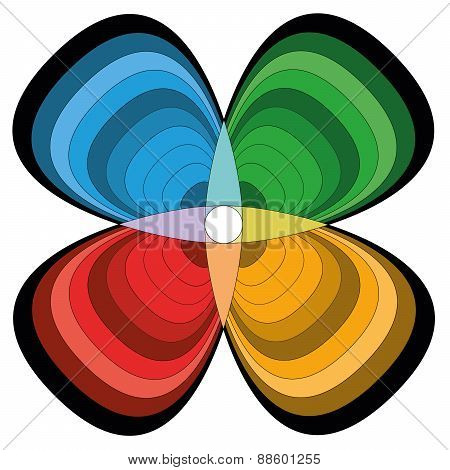 Four Quarters Cloverleaf Flower Colored