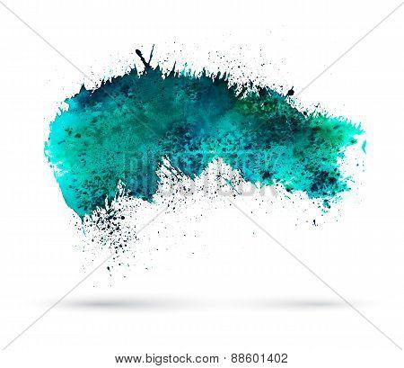 Aquamarine watercolor splash. Template for your designs.