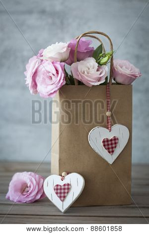 Romantic Gift with pink roses and handmade hearts - vintage style