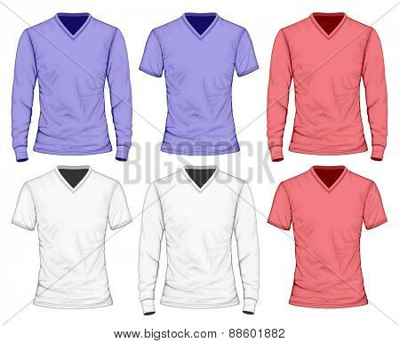 Men's t-shirt long and short sleeve. Vector illustration.