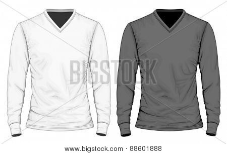 Men's t-shirt long sleeve. Vector illustration.