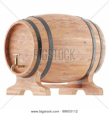 Wine, whiskey, beer, rum barrels isolated on white background.