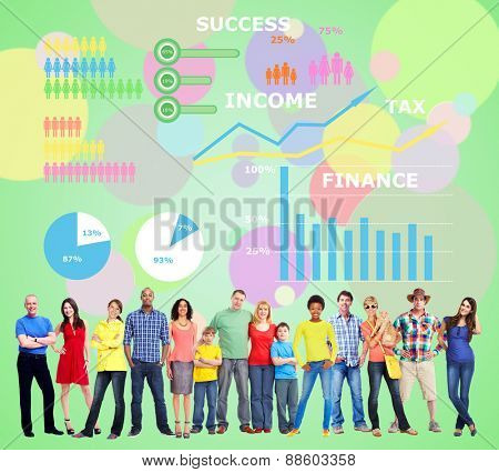 Large People group near colorful infographic background.