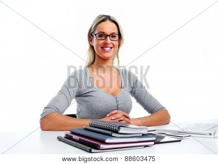 Woman working in office isolated white  background.