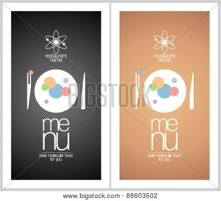 Restaurant menu cards design templates for molecular gastronomy.