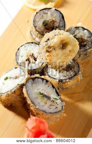 Tempura Maki Sushi - Deep Fried Roll made of Cucumber and Cream Cheese inside
