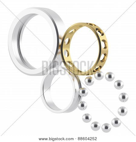 Isolated disassembled realistic bearing