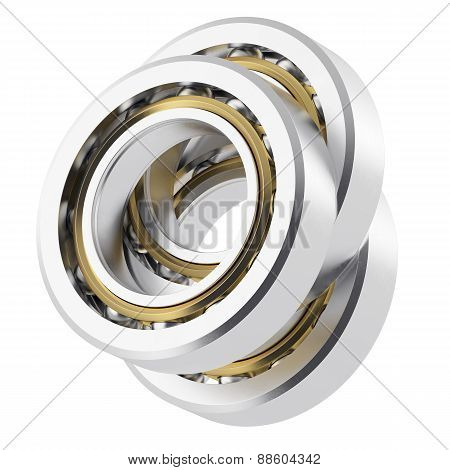 Three isolated realistic angled bearing on a white background with small scratches.