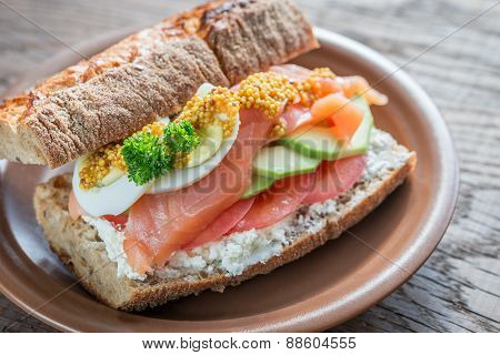 Sandwich With Salmon, Avocado And Eggs
