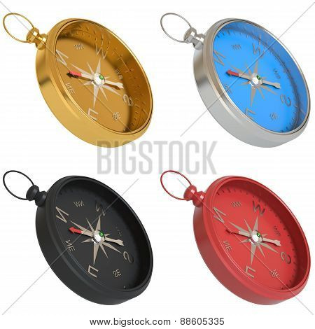 Set of compasses isolated on white background