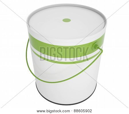 Full bank green paint isolated on white background.