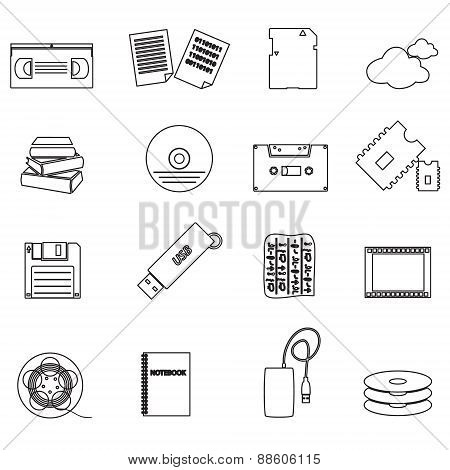 Data Storage Media Black Simple Outline Icons Eps10