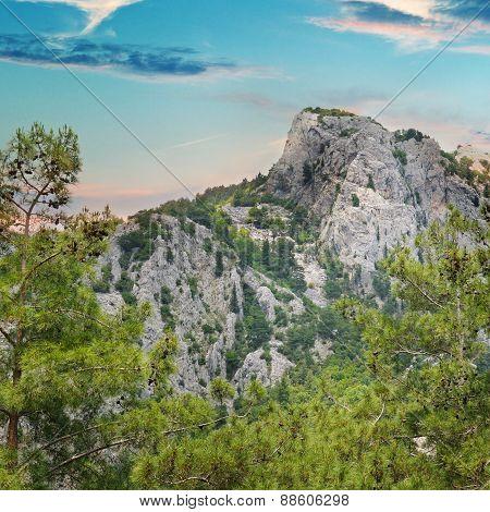 Beautiful Mountain Landscape And Sunrise