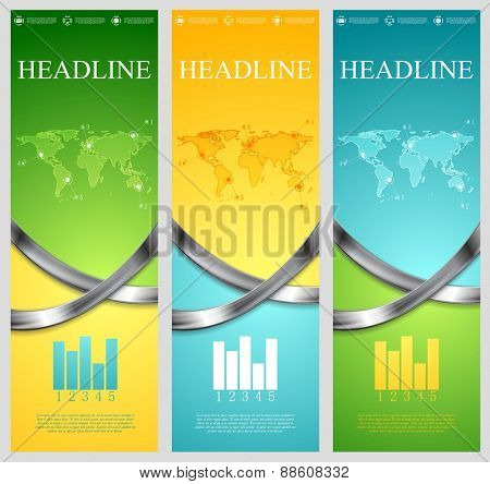Bright abstract tech vertical banners with metal waves. Vector template