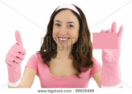 Cleaning Woman Showing A Blank Sign Card And Giving Thumbs Up
