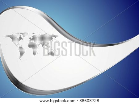 Technology background with world map and metal waves. Vector design