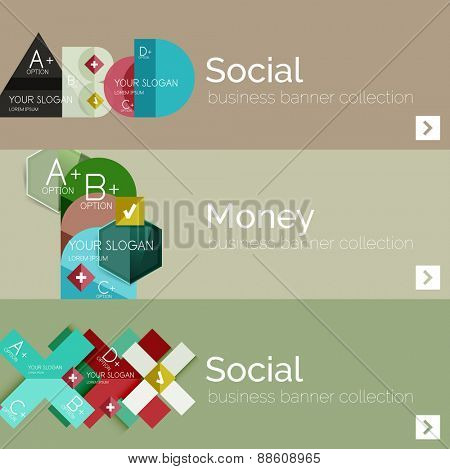 Flat modern info banner set with geometric abstract diagram