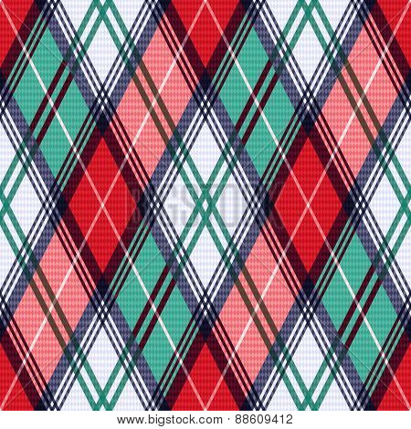 Rhombic Tartan Seamless Texture In Red And Turquoise Hues