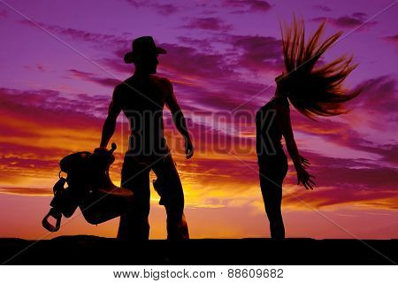 Silhouette Of Woman Hair Flying Arms Back