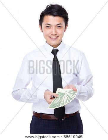 Businessman show with USD