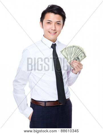 Businessman show with banknote