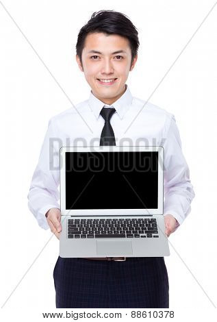 Businessman show with laptop computer