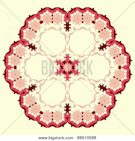 Ornamental round floral pattern. Set of four colorful ornament