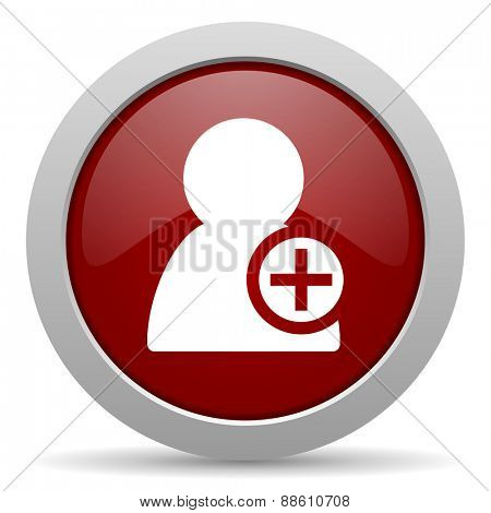 add contact red glossy web icon