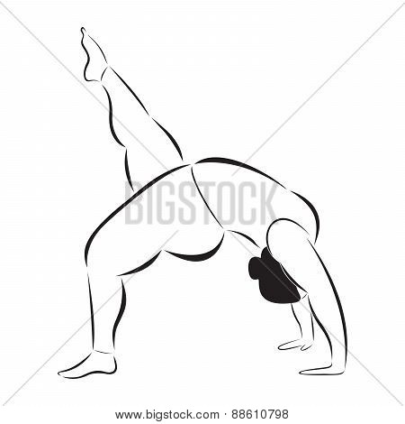 Plus size sporty woman doing yoga