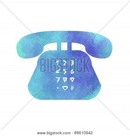 Watercolor Retro Phone Icon