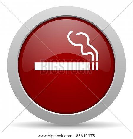 cigarette red glossy web icon