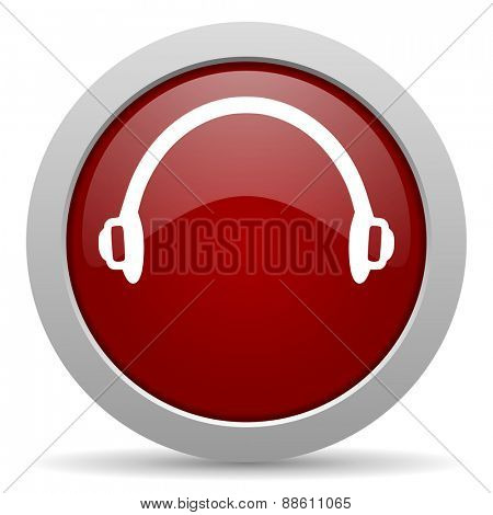headphones red glossy web icon