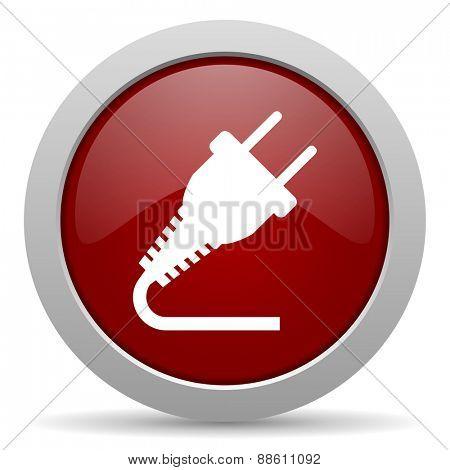 plug red glossy web icon