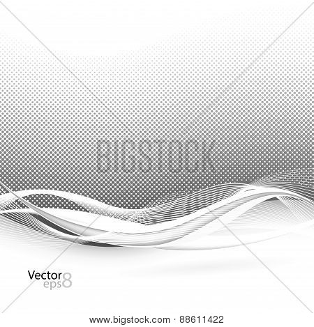 Abstract Smooth Swoosh Line Dotted Noise Background. Vector Illustration