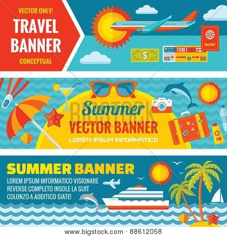 Summer travel - decorative horizontal vector banners set in flat style design